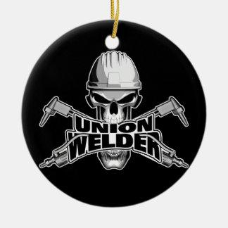 Union Welder: Skull and Torches Ceramic Ornament