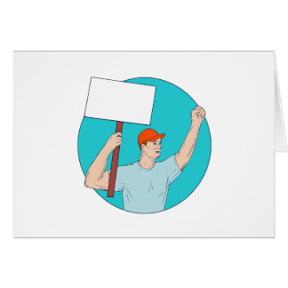 Union Worker Activist Placard Protesting Fist Up C Card