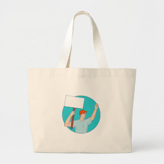 Union Worker Activist Placard Protesting Fist Up C Large Tote Bag