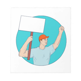 Union Worker Activist Placard Protesting Fist Up C Notepad