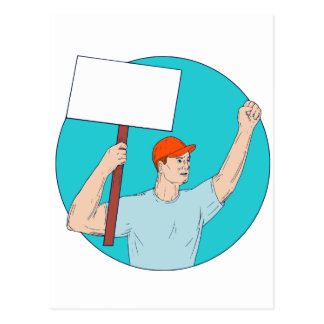 Union Worker Activist Placard Protesting Fist Up C Postcard