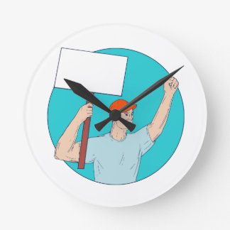 Union Worker Activist Placard Protesting Fist Up C Round Clock