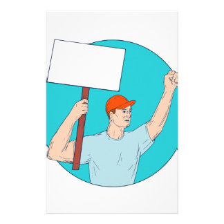 Union Worker Activist Placard Protesting Fist Up C Stationery