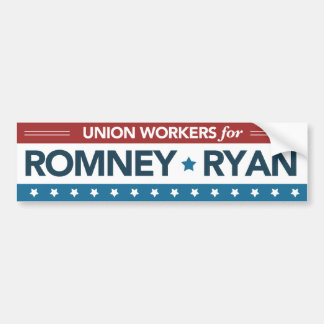 Union Workers For Romney Ryan Bumper Sticker