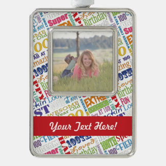 Unique 100th Birthday Party Personalized Gifts Silver Plated Framed Ornament