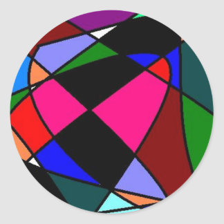Unique Abstract Art Retro Round Sticker
