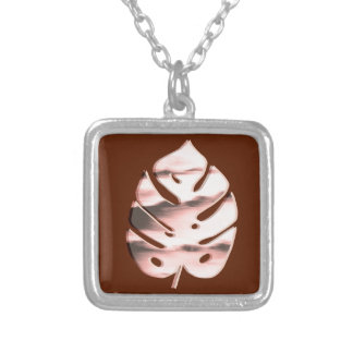 Unique Abstract Monstera Tropical Plant Design Silver Plated Necklace