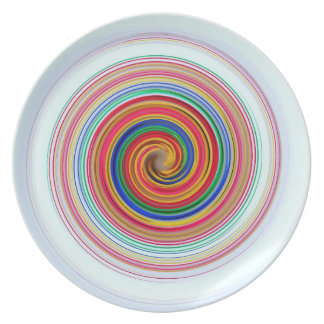 UNIQUE ABSTRACT PLATE,  SLEEK ORANGE BLUE TWIRL PLATE