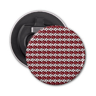 Unique and Cool Red & White Argyle Styled Pattern Bottle Opener