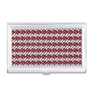 Unique and Cool Red & White Argyle Styled Pattern Case For Business Cards