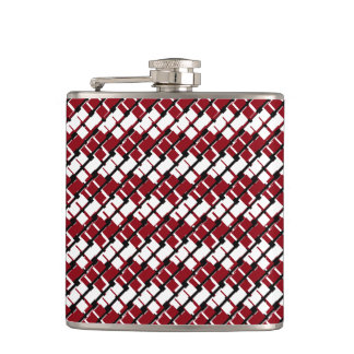 Unique and Cool Red & White Argyle Styled Pattern Hip Flask