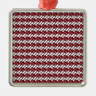Unique and Cool Red & White Argyle Styled Pattern Metal Ornament