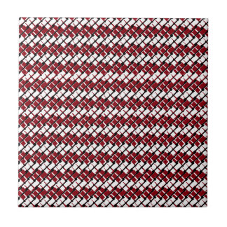Unique and Cool Red & White Argyle Styled Pattern Small Square Tile
