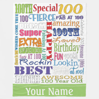 Unique And Special 100th Birthday Party Gifts Fleece Blanket