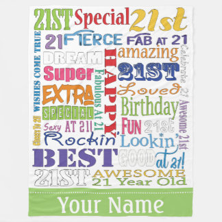 Unique And Special 21st Birthday Party Gifts Fleece Blanket
