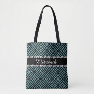 Unique Aqua Glitter Girly Tote Bag