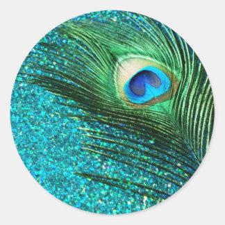 Unique Aqua Peacock Classic Round Sticker