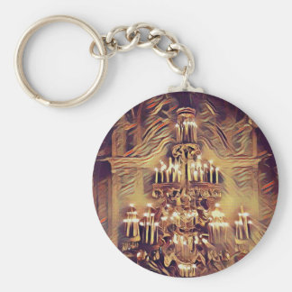 Unique Artistic Vintage Lighted Chandelier Basic Round Button Key Ring