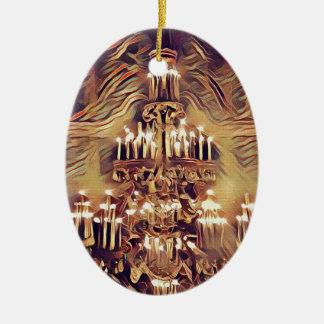 Unique Artistic Vintage Lighted Chandelier Ceramic Oval Decoration