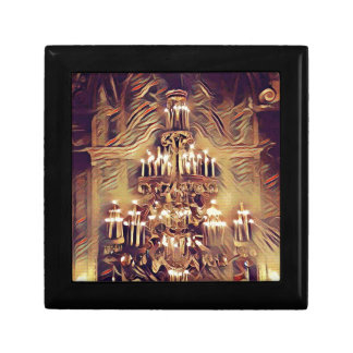Unique Artistic Vintage Lighted Chandelier Small Square Gift Box