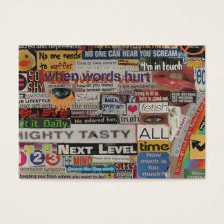 unique artistic word collage paper mache business card