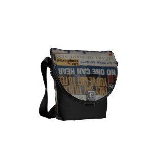 unique artistic word collage paper mache courier bag