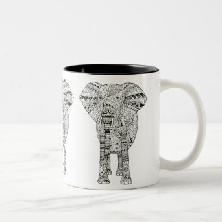 Unique Artsy Elephant Two-Tone Mug