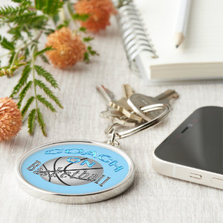 Unique Basketball Coaches Gifts for Women Coaches Silver-Colored Round Key Ring