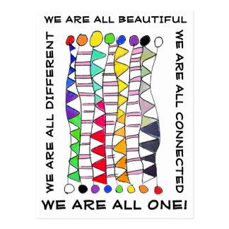 Unique beautiful & one diversity celebration postcard