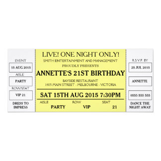 Unique Birthday Invitation (Concert Ticket Styled)