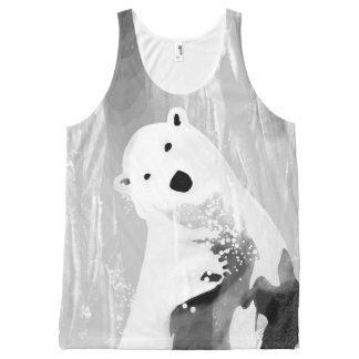 Unique Black and White Polar Bear Design All-Over Print Singlet