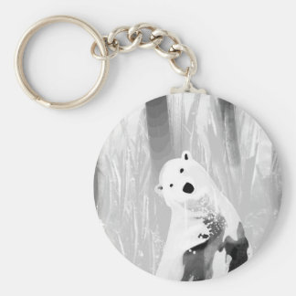 Unique Black and White Polar Bear Design Key Ring