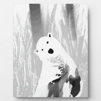Unique Black and White Polar Bear Design Plaque