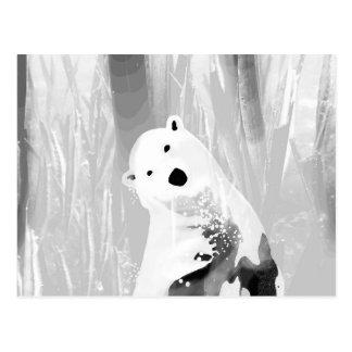 Unique Black and White Polar Bear Design Postcard
