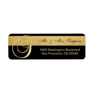 Unique Black Gold Foil Monogram Letter 'S' Return Return Address Label