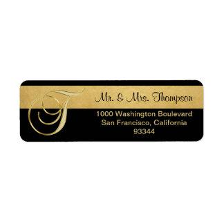 Unique Black Gold Foil Monogram Letter 'T' Return Return Address Label