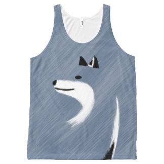 Unique Blue Fox Design All-Over Print Singlet