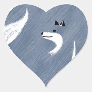 Unique Blue Fox Design Heart Sticker