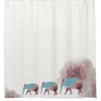 Unique Boho Chic Floral & Elephant Shower Curtain