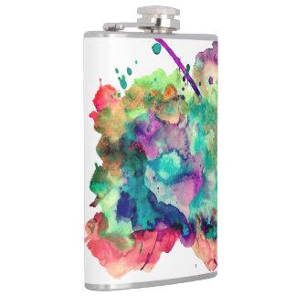 Unique, Bold, Colorful Watercolor Paint Splatters Hip Flask