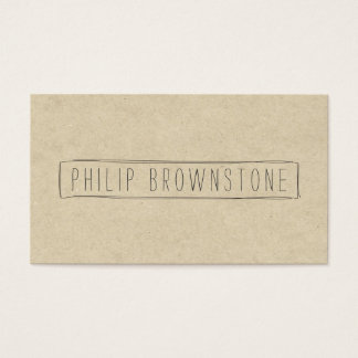 Unique Box Sketch Hand-Written Name on Cardboard Business Card