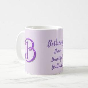 Unique Bright Purple Letter B Initial Monogram Coffee Mug