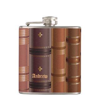 Unique Brown Books Monogram Father's Day Hip Flasks