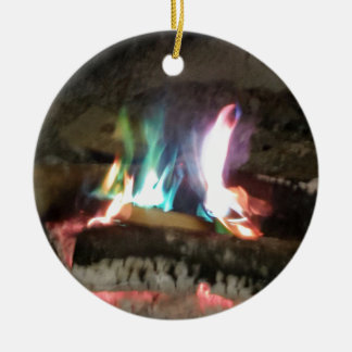 Unique Campfire Flames Of Color Round Ceramic Decoration