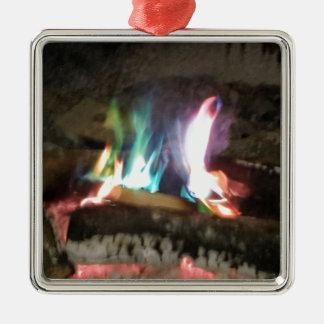 Unique Campfire Flames Of Color Silver-Colored Square Decoration