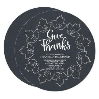 Unique Chalkboard Give Thanks Thanksgiving Dinner 13 Cm X 13 Cm Square Invitation Card