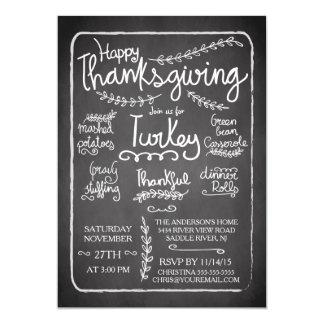 Unique Chalkboard Thanksgiving Dinner Invitation
