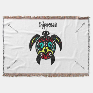 Unique Chippewa Turtle Clan with Arrows Throw Blanket