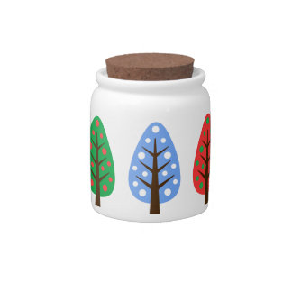 Unique Christmas trees green blue Candy Jar