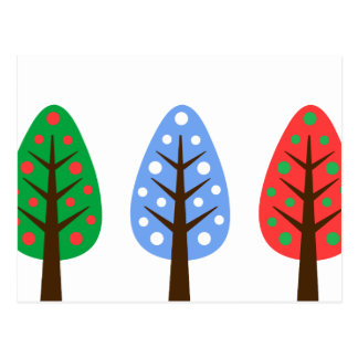Unique Christmas trees green blue red Postcard